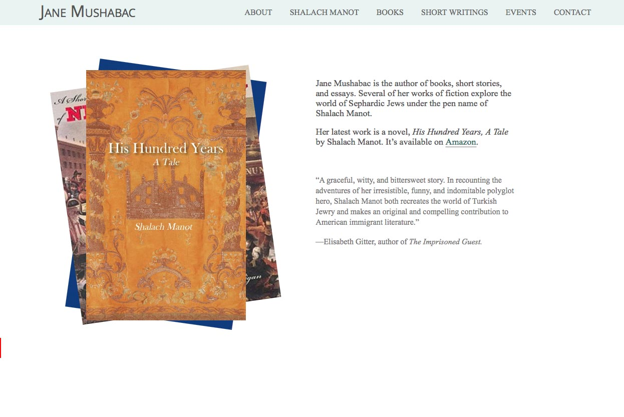 web design for an author - Jane Mushabac -  home page