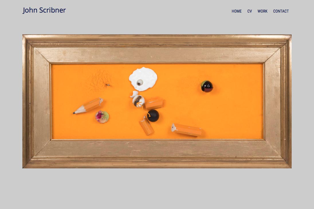 web design for an assemblage artist - home page