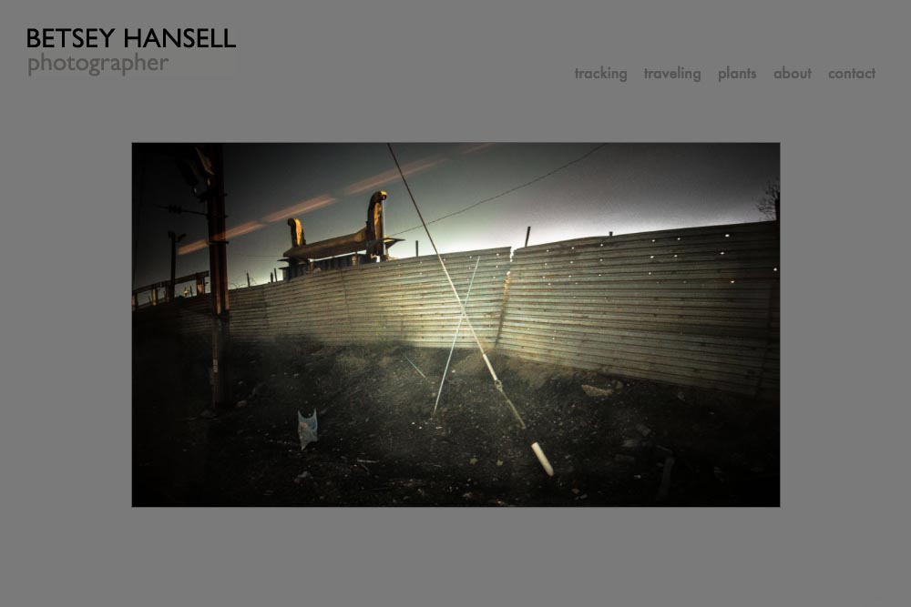 web design for a photographer - Betsey Hansell - home page