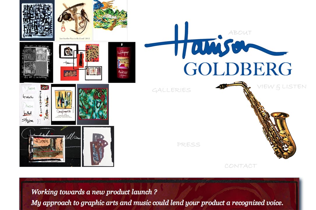 web design for a mixed media artist and jazz musician - by web designer for musicians and artists, Rohesia Hamilton Metcalfe