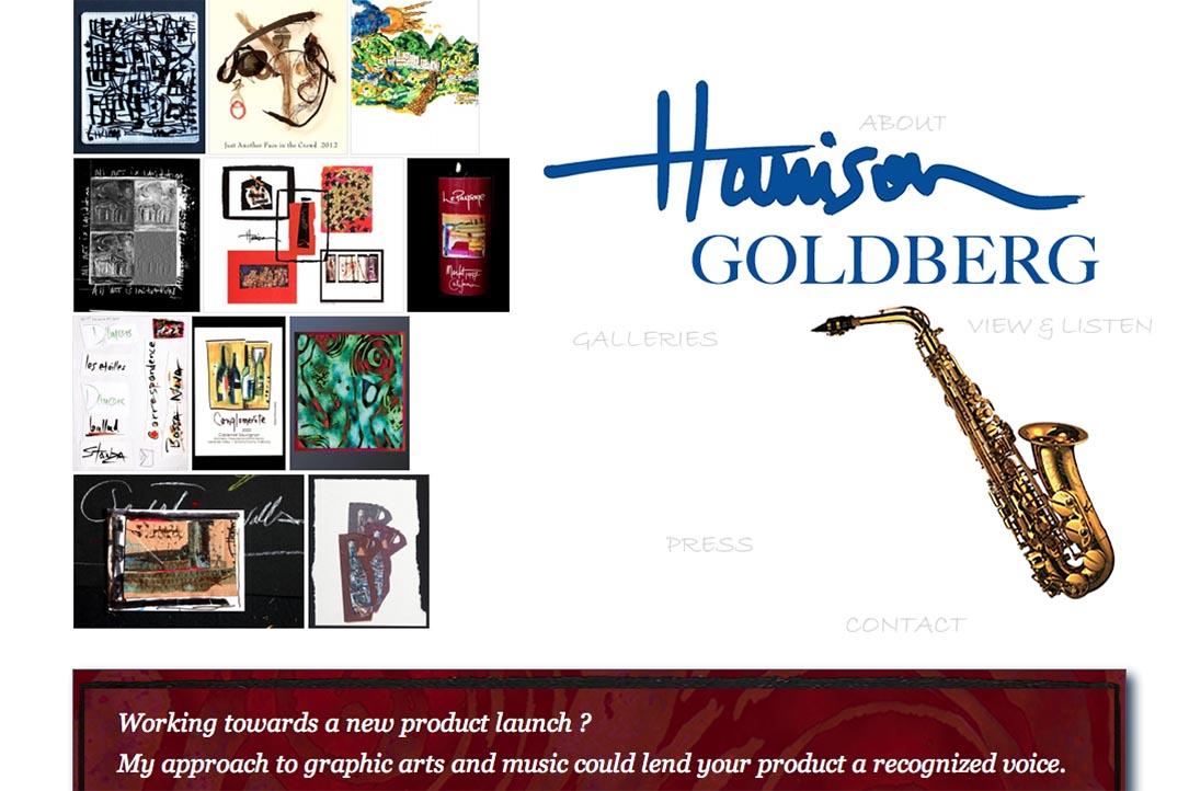 web design for a mixed media artist and jazz musician - Harrison Goldberg