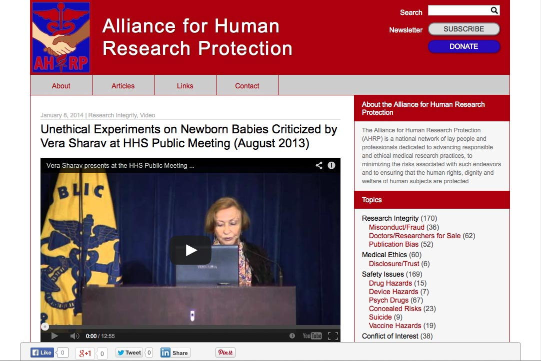 web design for a new york non-profit organization - Alliance for Human Protection