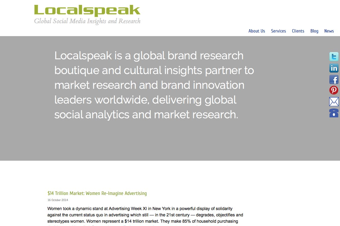 web re-design for a global branding and translation company - Localspeak