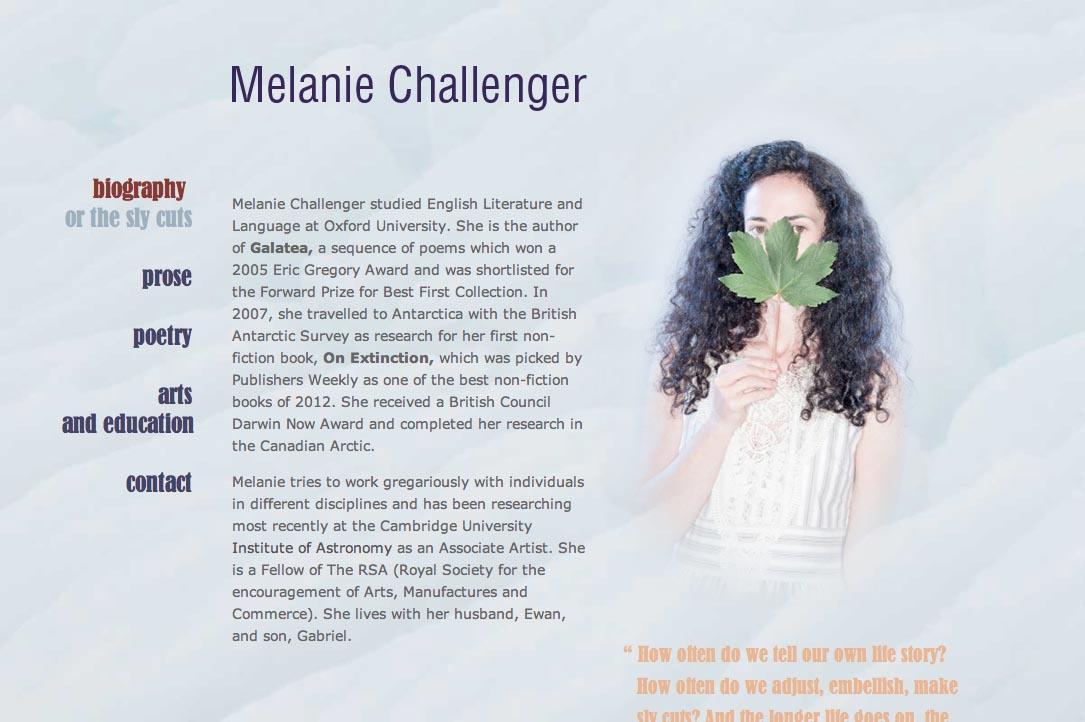 web design for a British writer - Melanie Challenger - biography page