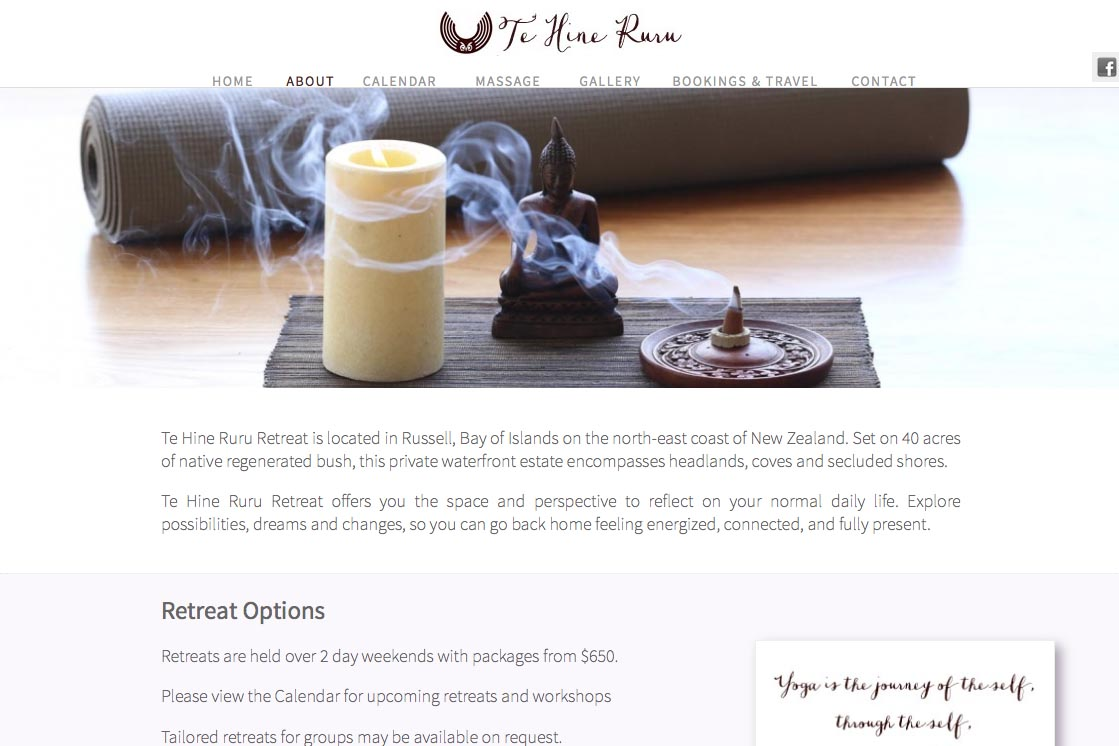 web design for a yoga retreat & massage center in New Zealand - Te Hine Ruru - about page