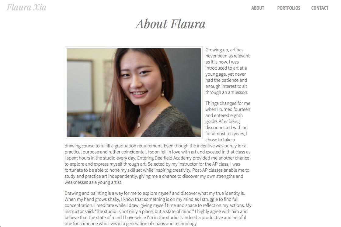 web design for an artist, writer, composer and actor - Flaura Xia - about page