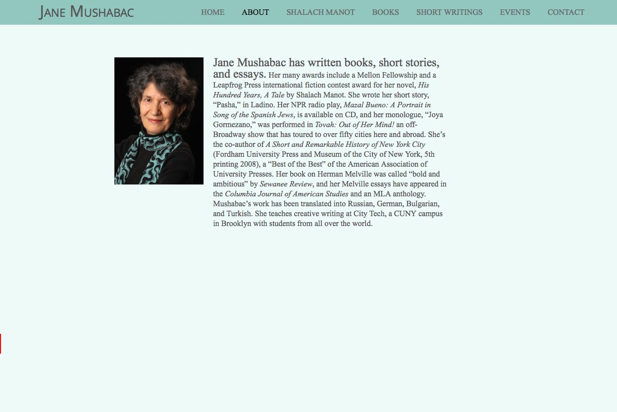 web design for an author - Jane Mushabac - about page