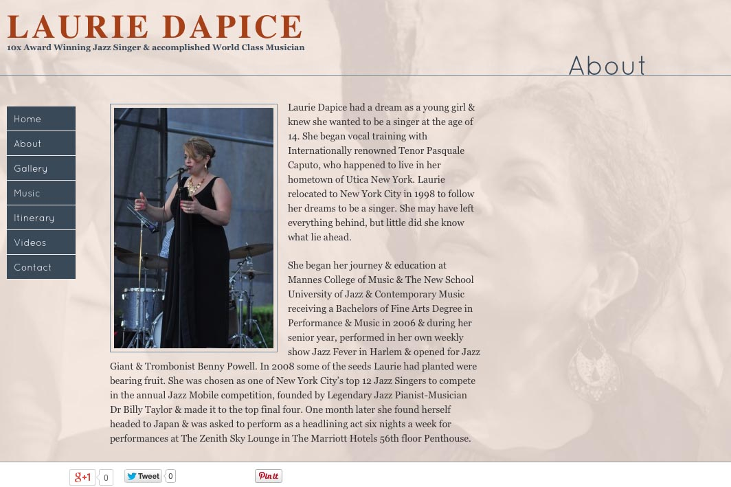 web design for a New York jazz singer - about page