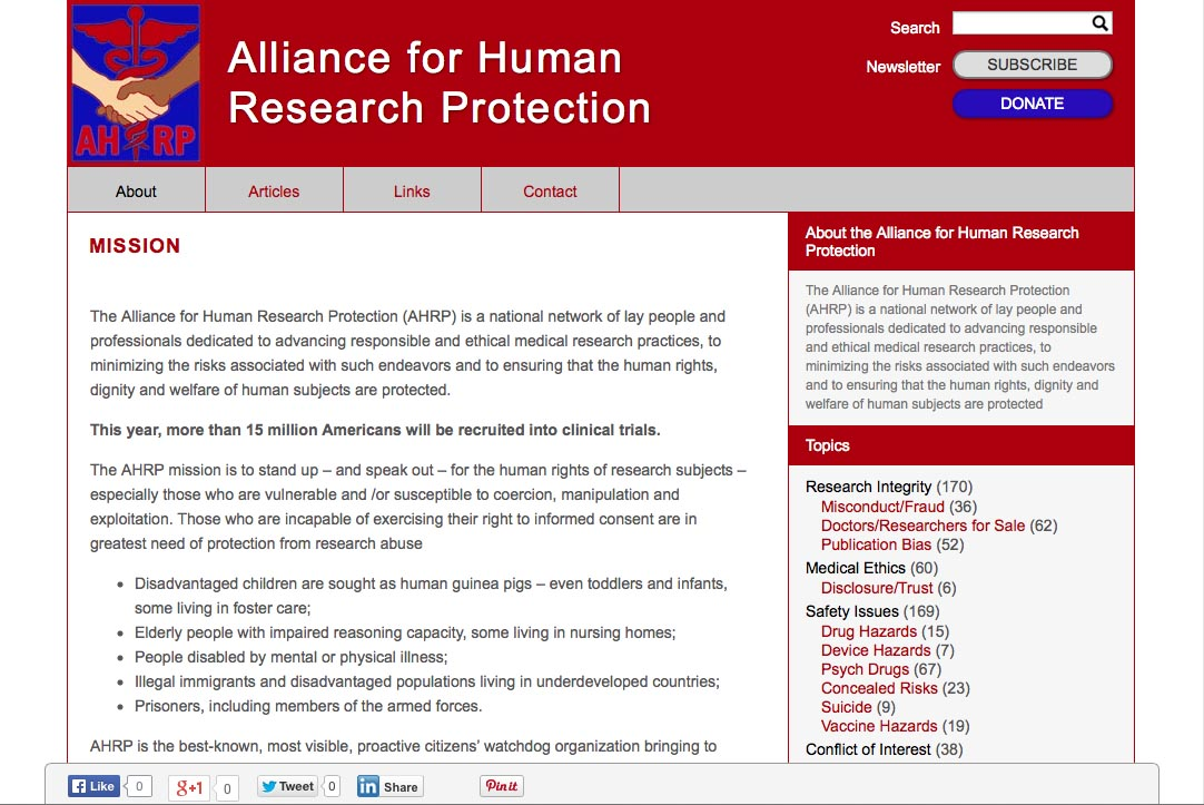 web design for a new york non-profit organization - mission statement page for Alliance for Human Protection