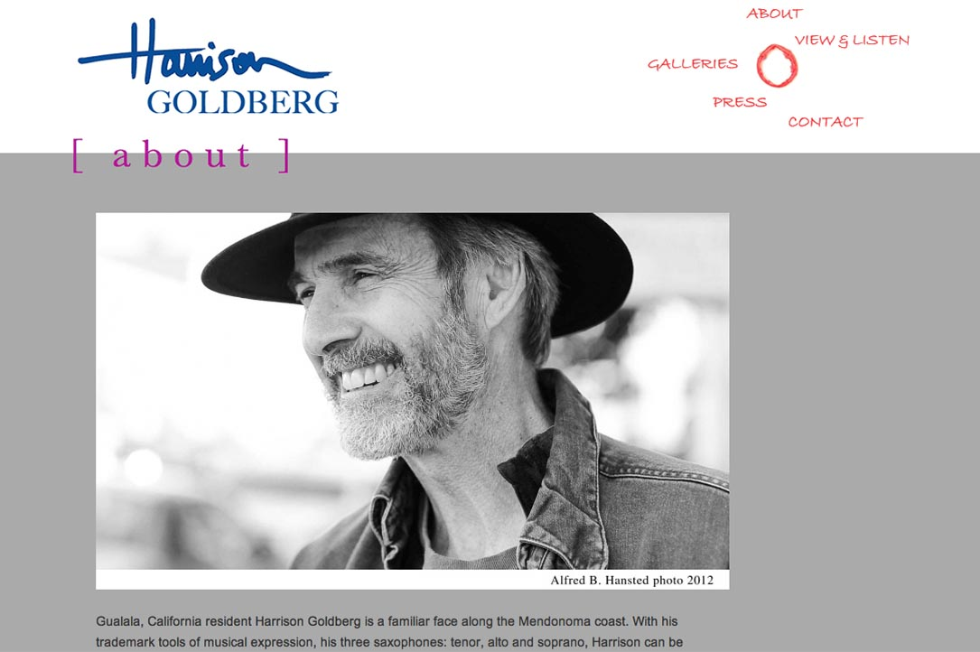 web design for a mixed media artist and jazz musician - Harrison Goldberg - about page