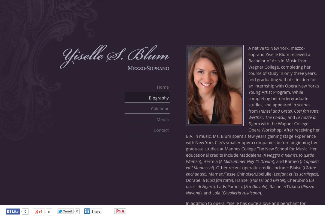 web design for an opera singer - Yiselle Blum - biography page