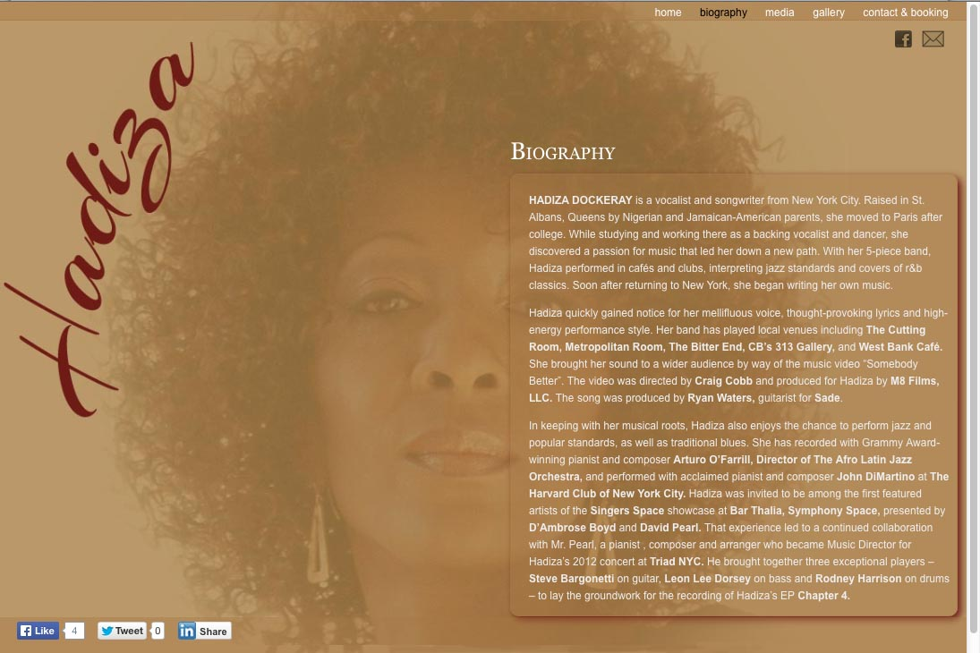 web design for a jazz singer - biography page