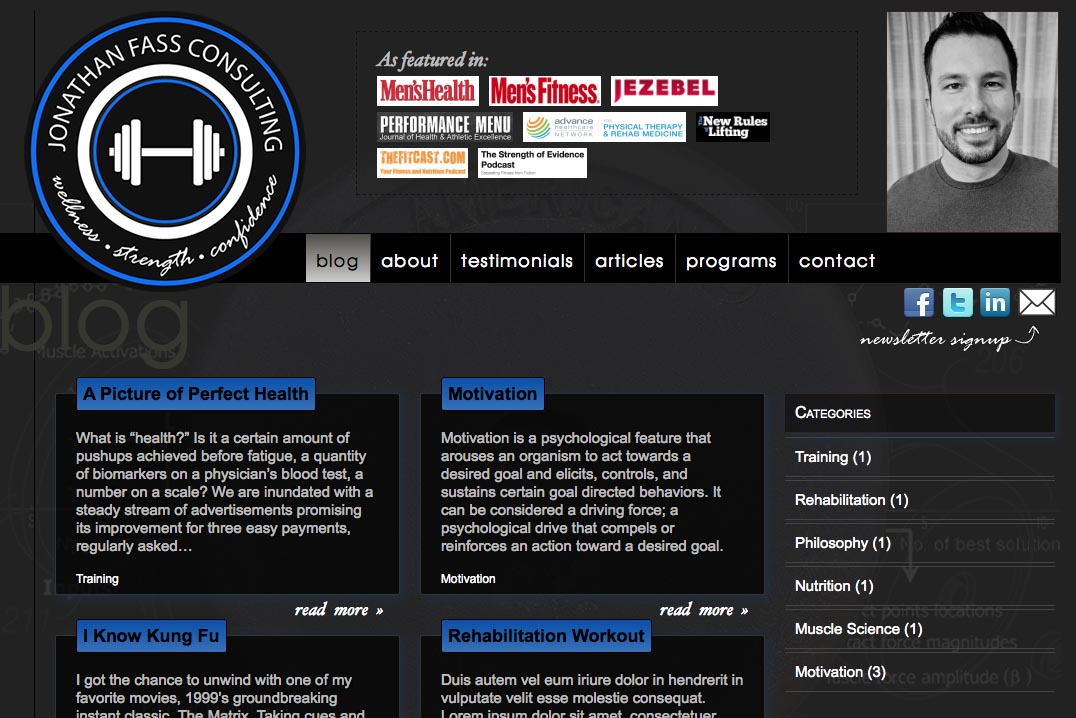 web design for a fitness trainer and consultant - Jonathan Fass - landing page for blog
