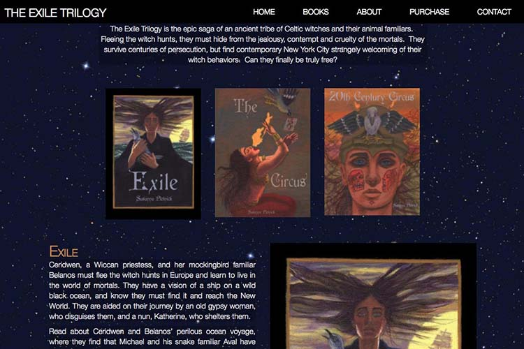 web design for a graphic novel - Exile Trilogy books