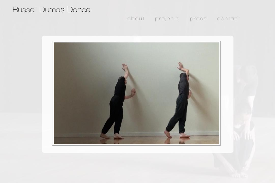web design for a choreographer - Russell Dumas - home page