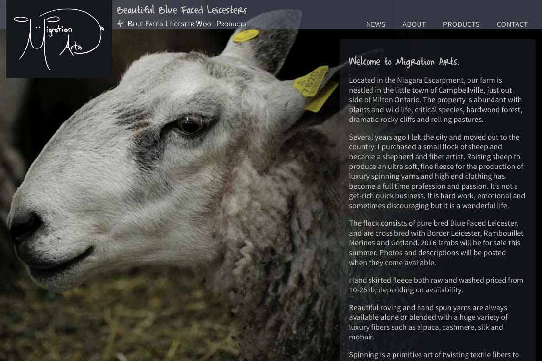web design for a luxury wool products business - home page b