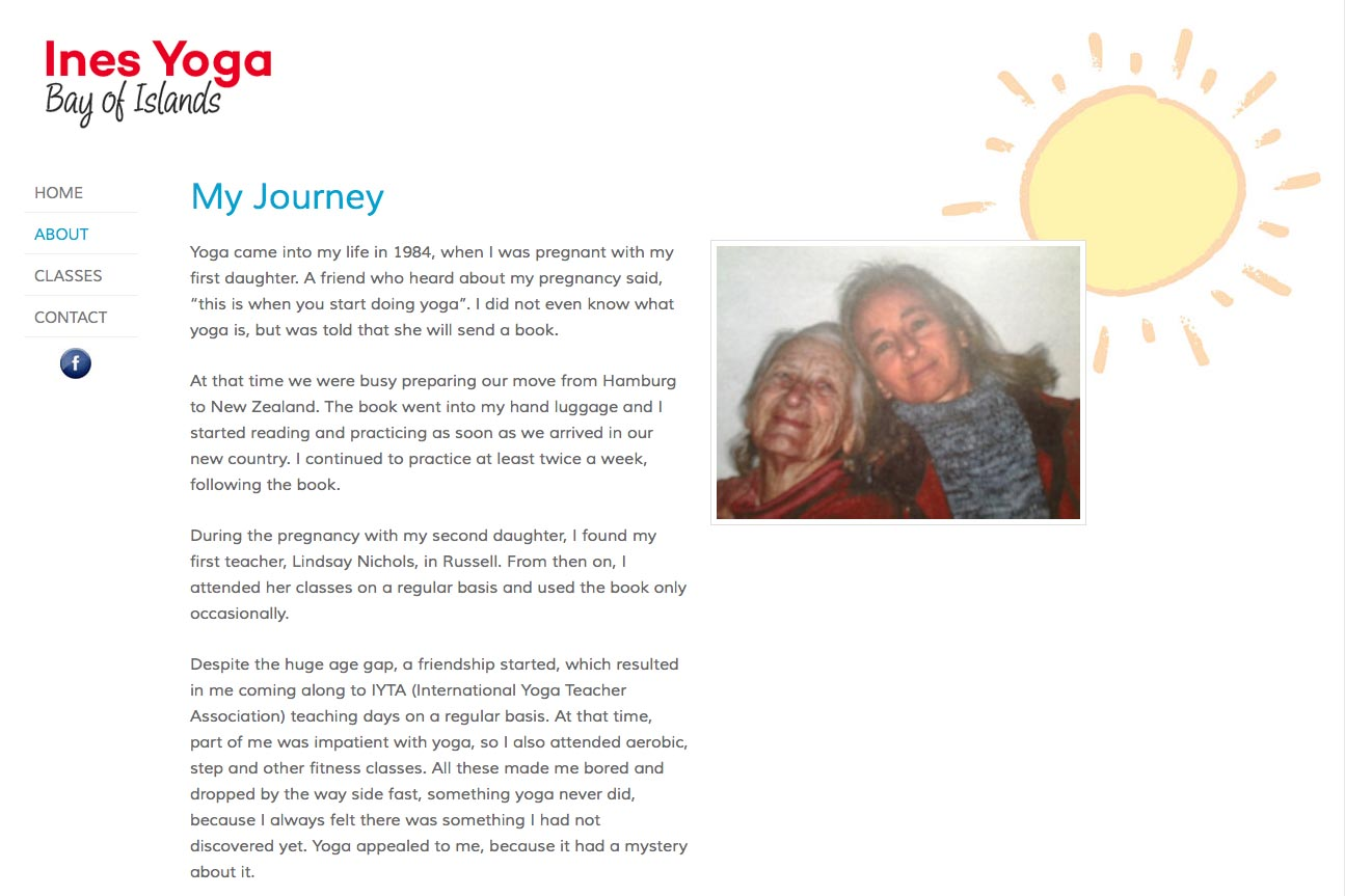 simple web design for a yoga teacher - Ines Piroth - page about the journey