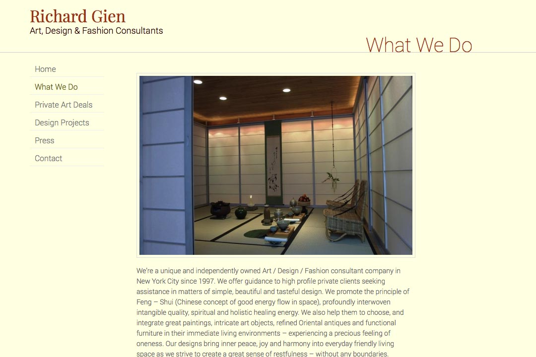 web design for a fashion designer, interior design consultant and art dealer - Richard Gien - what we do page