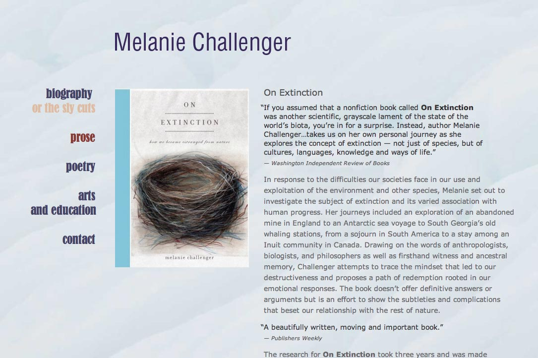 web design for a British writer - Melanie Challenger - prose page a