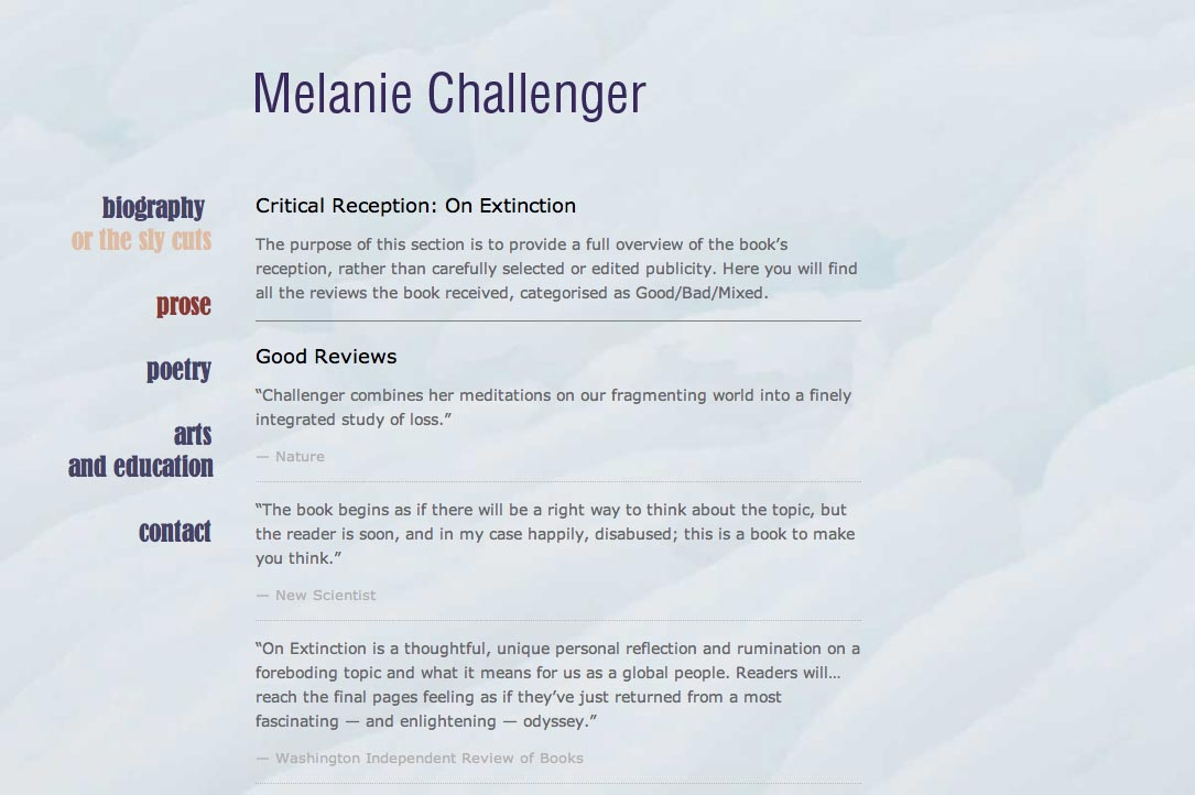 web design for a British writer - prose page b