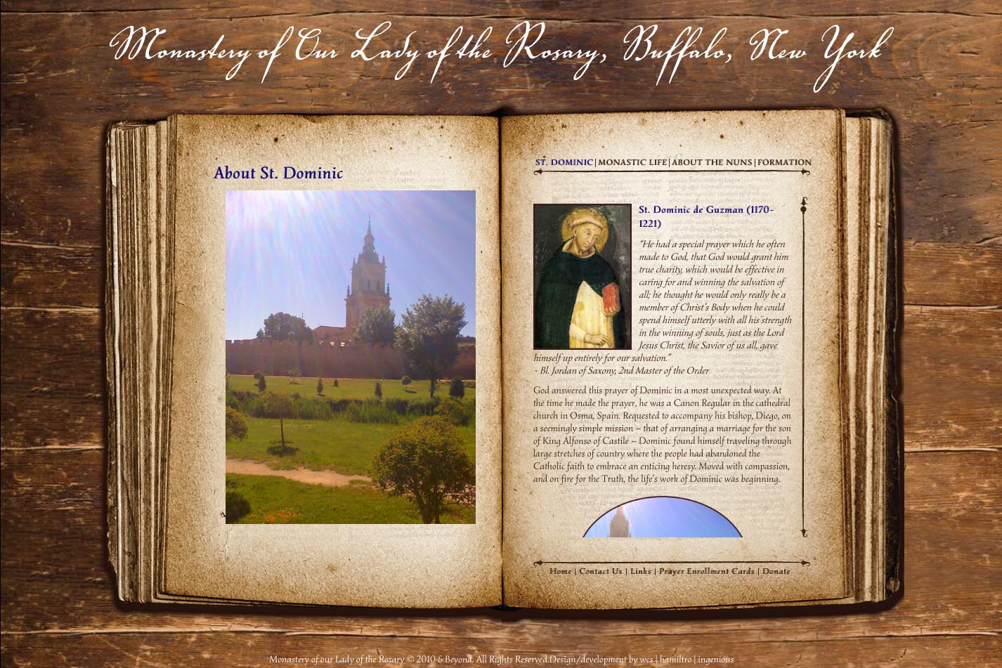 web design for a monastery - about page