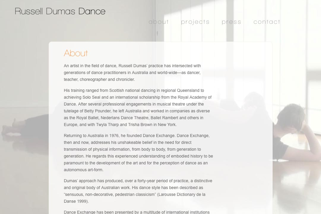 web design for a choreographer - about page