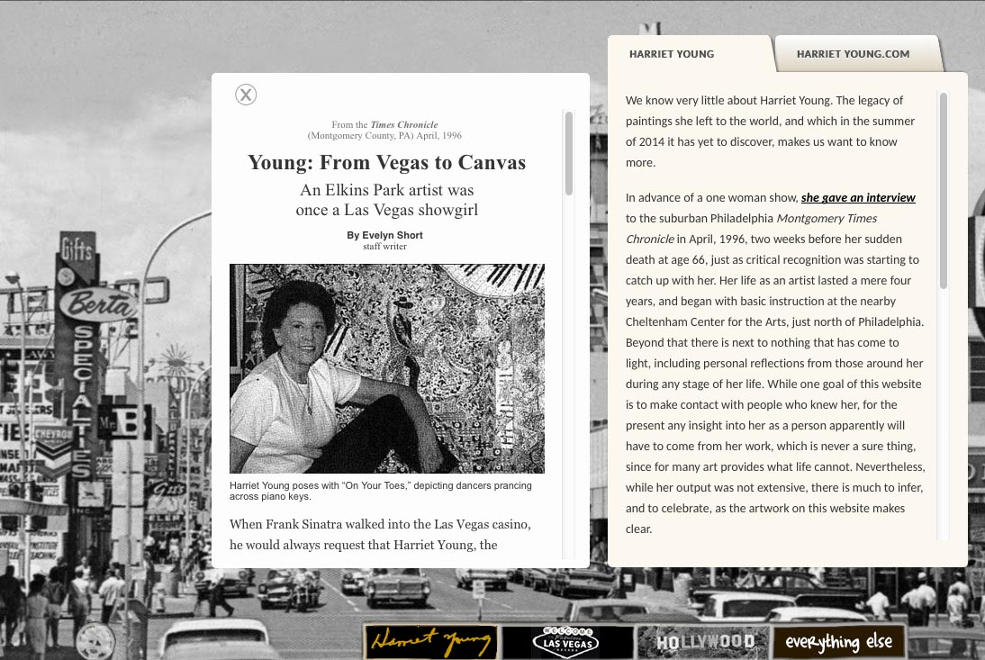 web design for a self-taught american artist - interview page