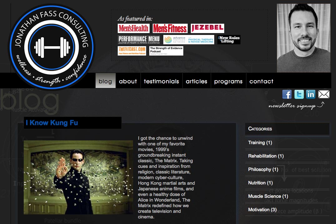 web design for a fitness trainer and consultant - Jonathan Fass - single article page for blog
