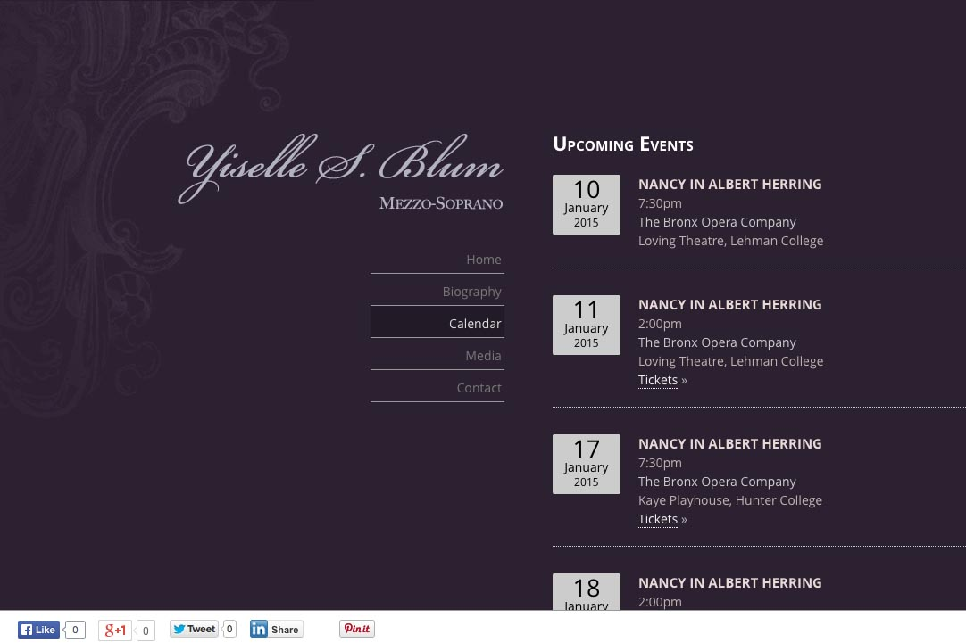 web design for an opera singer - Yiselle Blum - calendar page