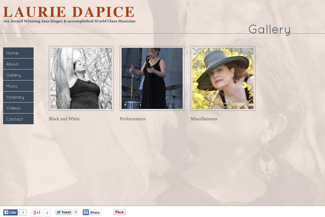 web design for a New York jazz singer - gallery landing page
