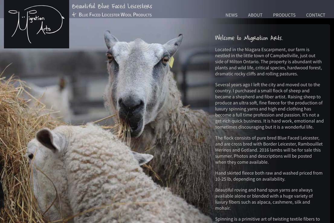 web design for a luxury wool products business - home page c