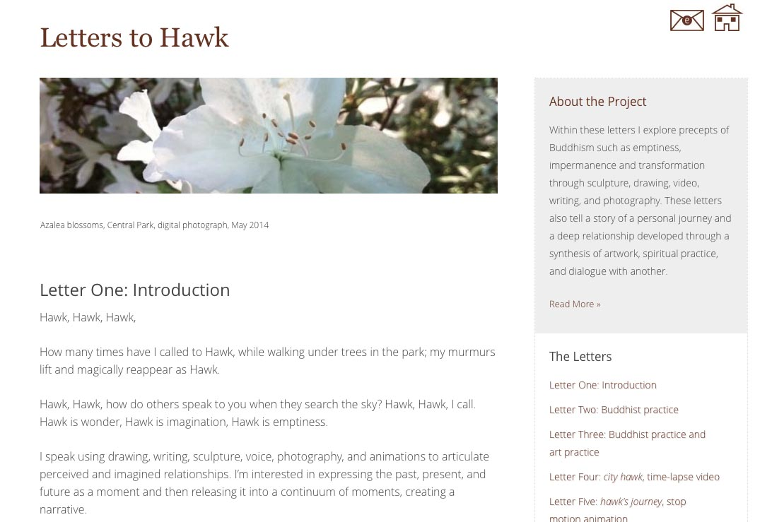 web design for an artist project by Tom Cleveland - letter one page