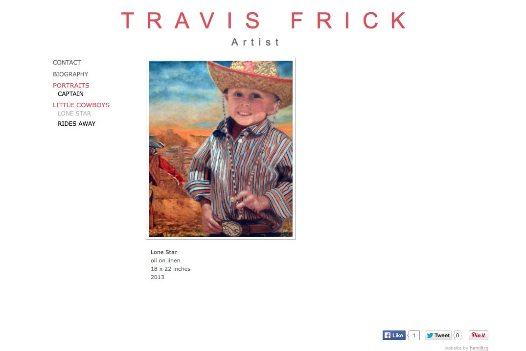 web design for a portrait painter - Travis Frick - lone star painting page