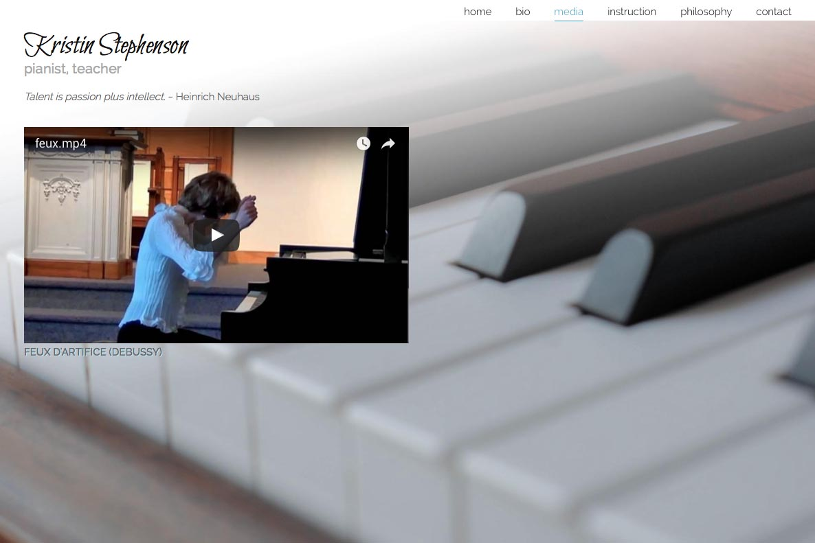 web design for a classical pianist and piano teacher - Kristin Stephenson - media page