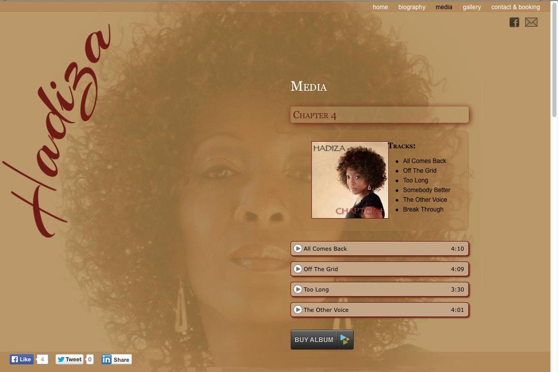 web design for a jazz singer - media page