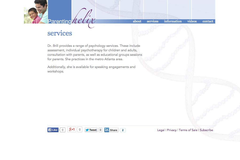 web design for a child psychologist and therapist - services page