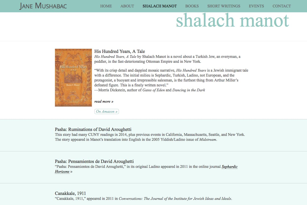 web design for an author - Jane Mushabac - shalach manot page