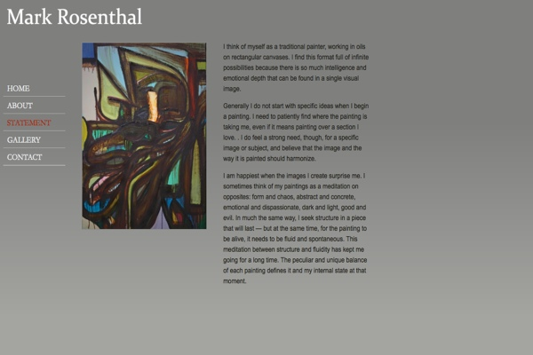 web design for an abstract painter in New York - statement page