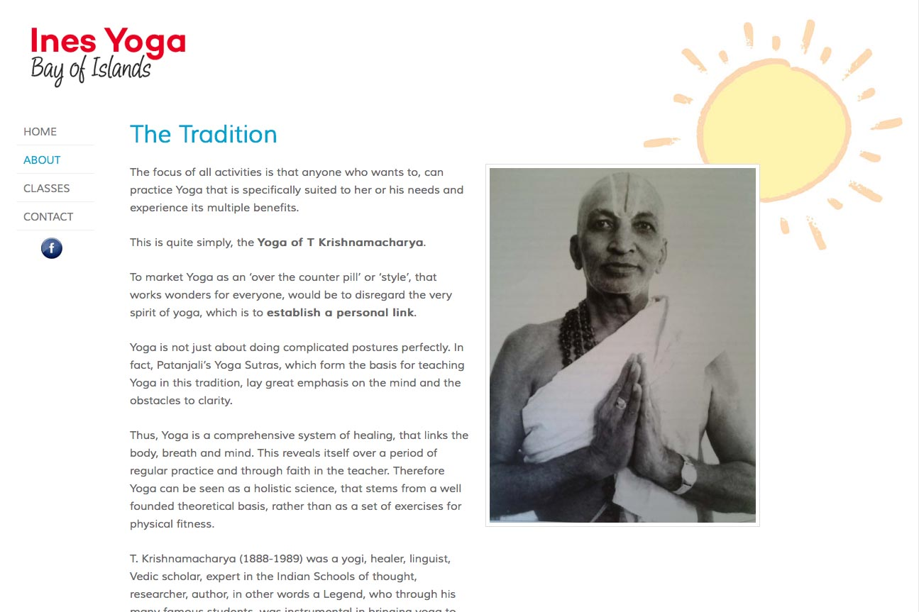 simple web design for a yoga teacher - Ines Piroth - page about the tradition