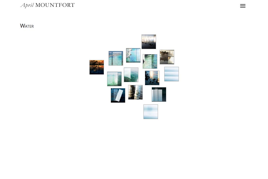 web design for a photographic artist and painter - April Mountfort - thumbnails for water portfolio page