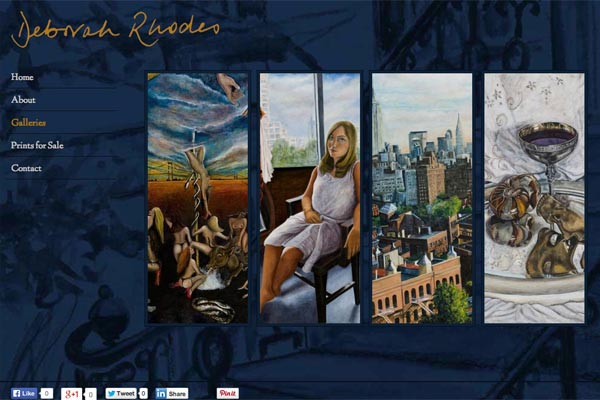 web design for an artist - Deborah Rhodes - galleries landing page