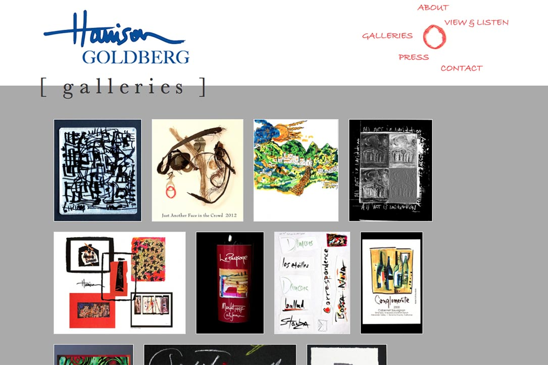 web design for a mixed media artist and jazz musician - Harrison Goldberg - galleries index page