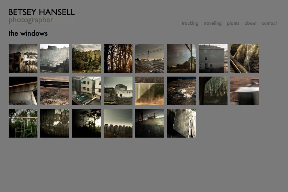 web design for a photographer - Betsey Hansell - windows portfolio thumbnails page