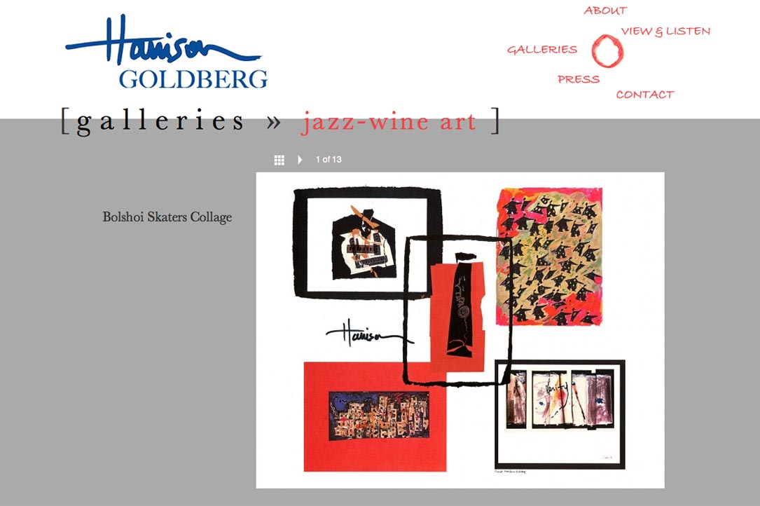 web design for a mixed media artist and jazz musician - Harrison Goldberg - galleries single artwork page 2