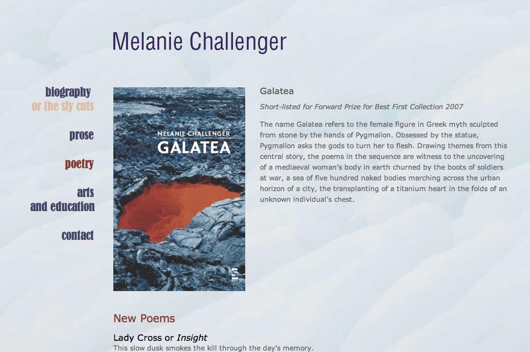 web design for a British writer - Melanie Challenger - poetry page a