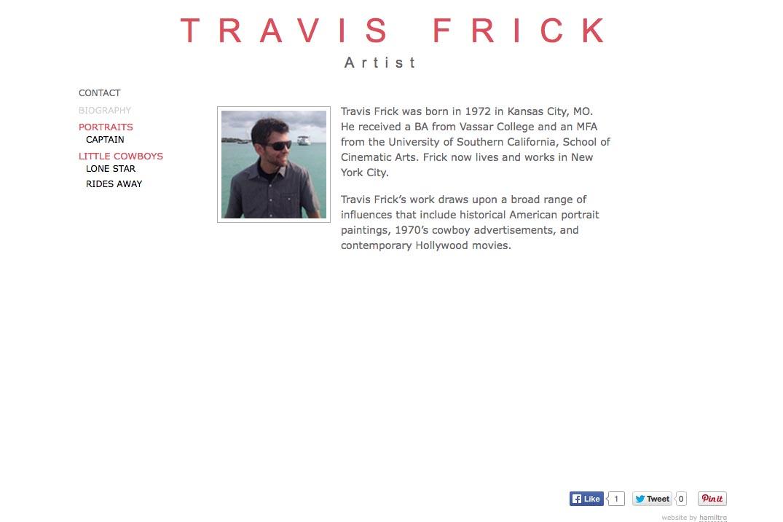 web design for a portrait painter - page about Travis Frick