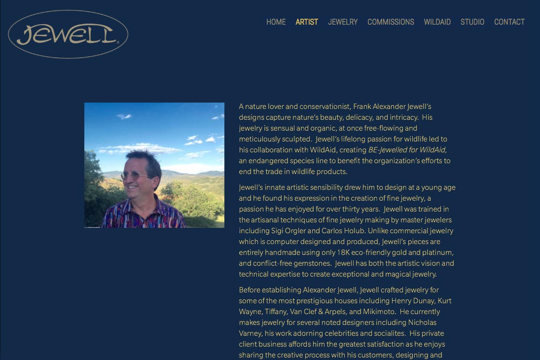 web design for an artisan-jeweler - about page - Frank Alexander Jewell