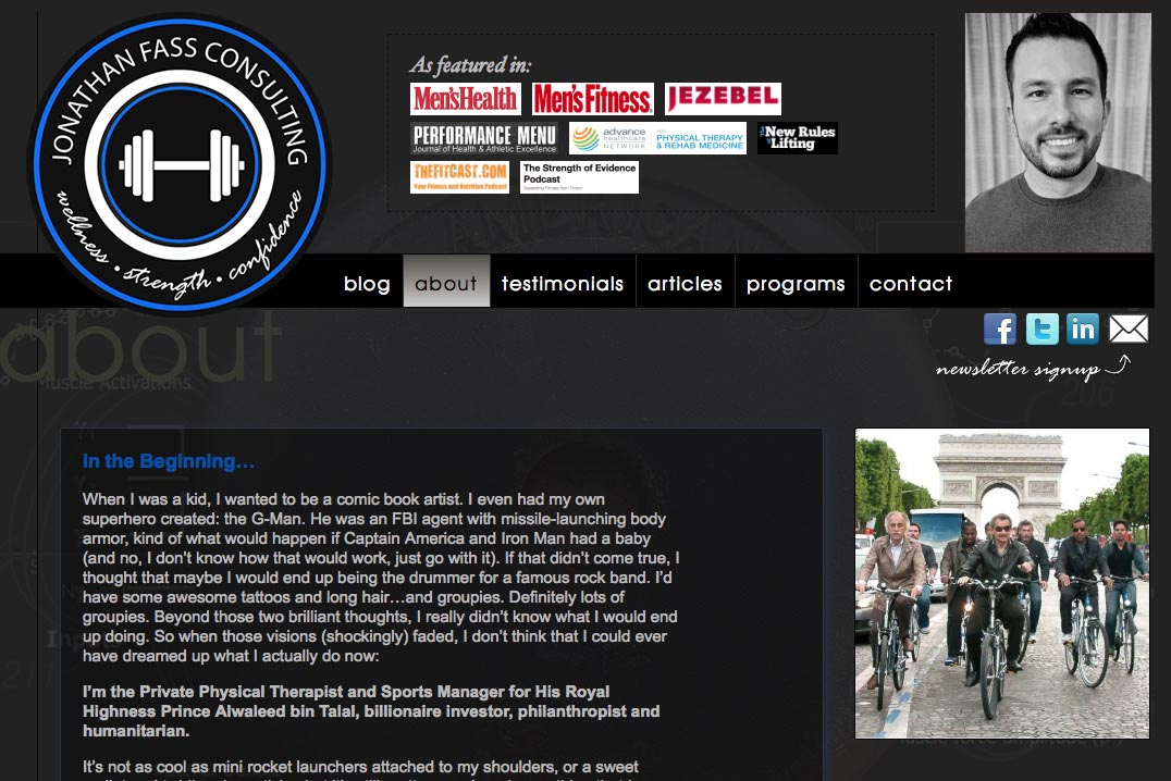 web design for a fitness trainer and consultant - Jonathan Fass - about page