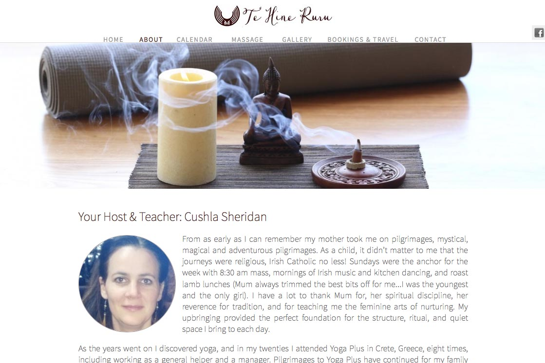 web design for a yoga retreat & massage center in New Zealand - Te Hine Ruru - about Cushla Sheridan