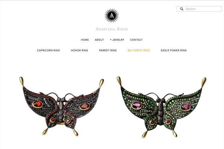 web design for a jewelry designer - jewelry products page
